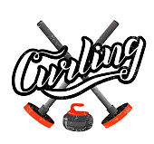 Curling sport lettering text with broom and stone on white background. Vector illustration. Curling brush calligraphy. Sport, fitness, activity vector design. Print for logo, T-shirt, banner and caps.