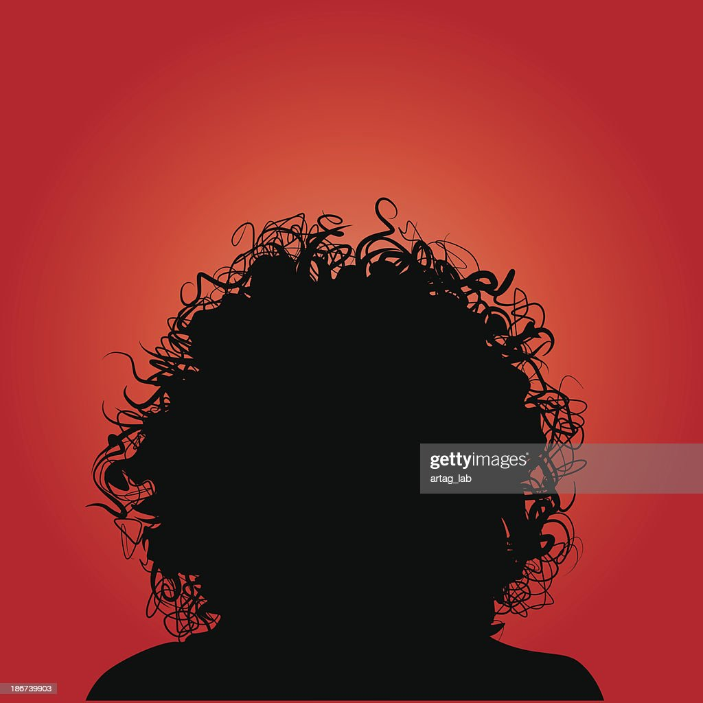 Curly Hair Silhouette Woman