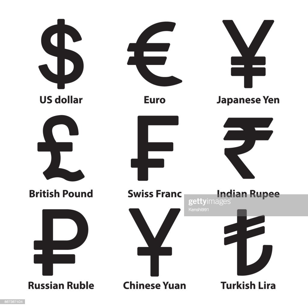 Currencies symbol icons set. Vector.