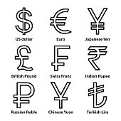 Currencies symbol thin line icons set. Vector.
