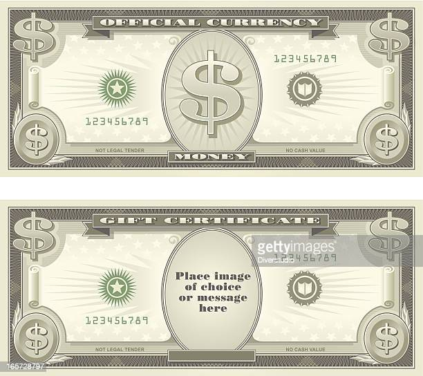 currency and gift certificate - us paper currency stock illustrations, clip art, cartoons, & icons