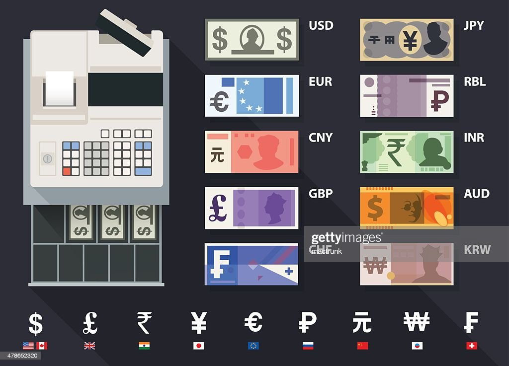 currency, bank notes and cash register