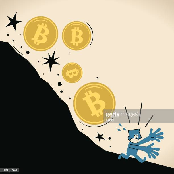 Currency bubble, falling Bitcoin currency hitting fresh low, investor (businessman) running away (escape)