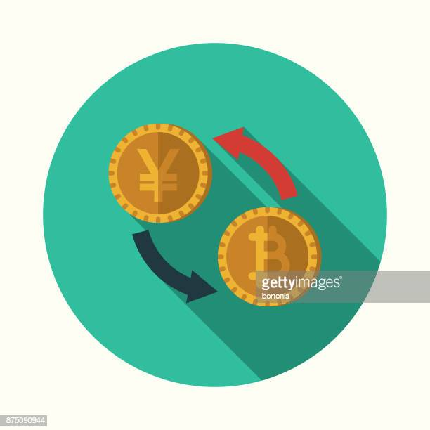 Valuta conversie Bitcoin Flat Design Business pictogram met kant schaduw