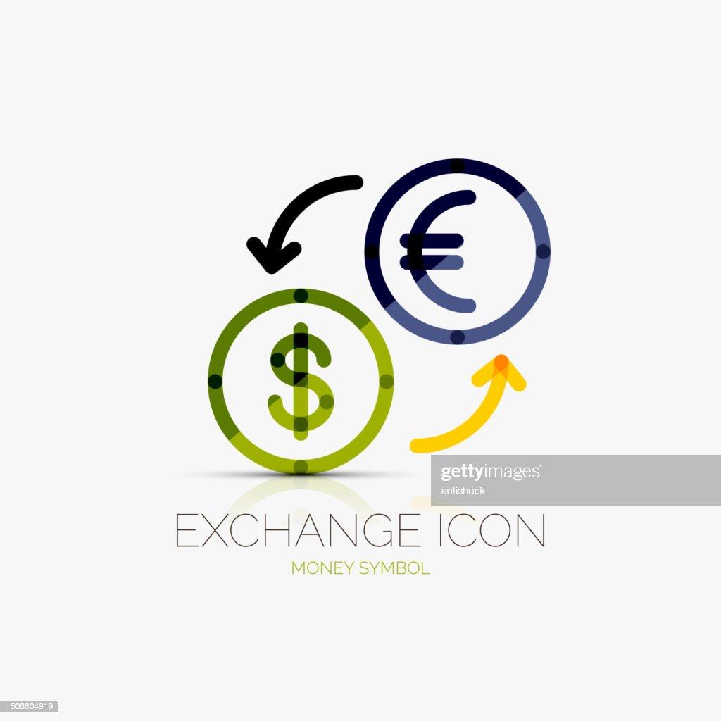 Cambio de divisas, de iconos de concepto de negocios : Arte vectorial