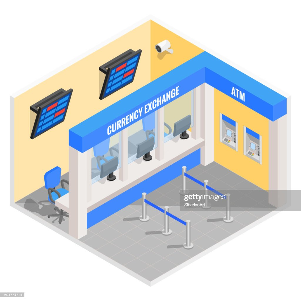 Bureau de change de devises dans la conception de style isom trique vecteur des finances plat 3d - Bureau de change monnaie ...