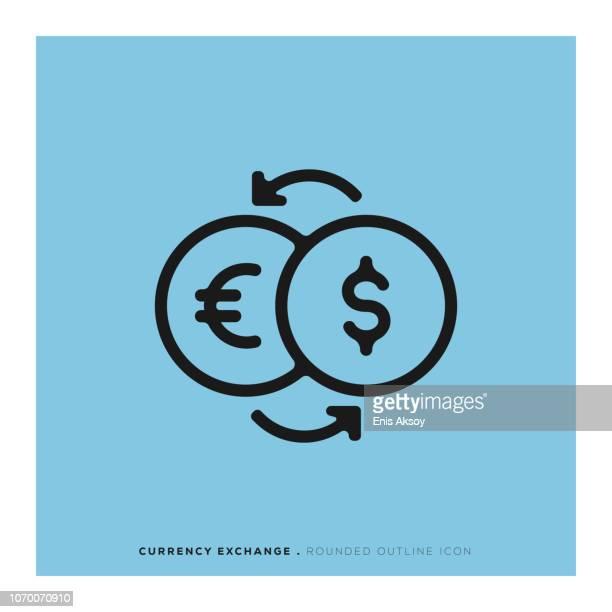 währung exchange abgerundete linie-symbol - devisenkurs stock-grafiken, -clipart, -cartoons und -symbole