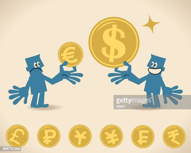 Currency exchange. Two businessmen with huge and small currency coin