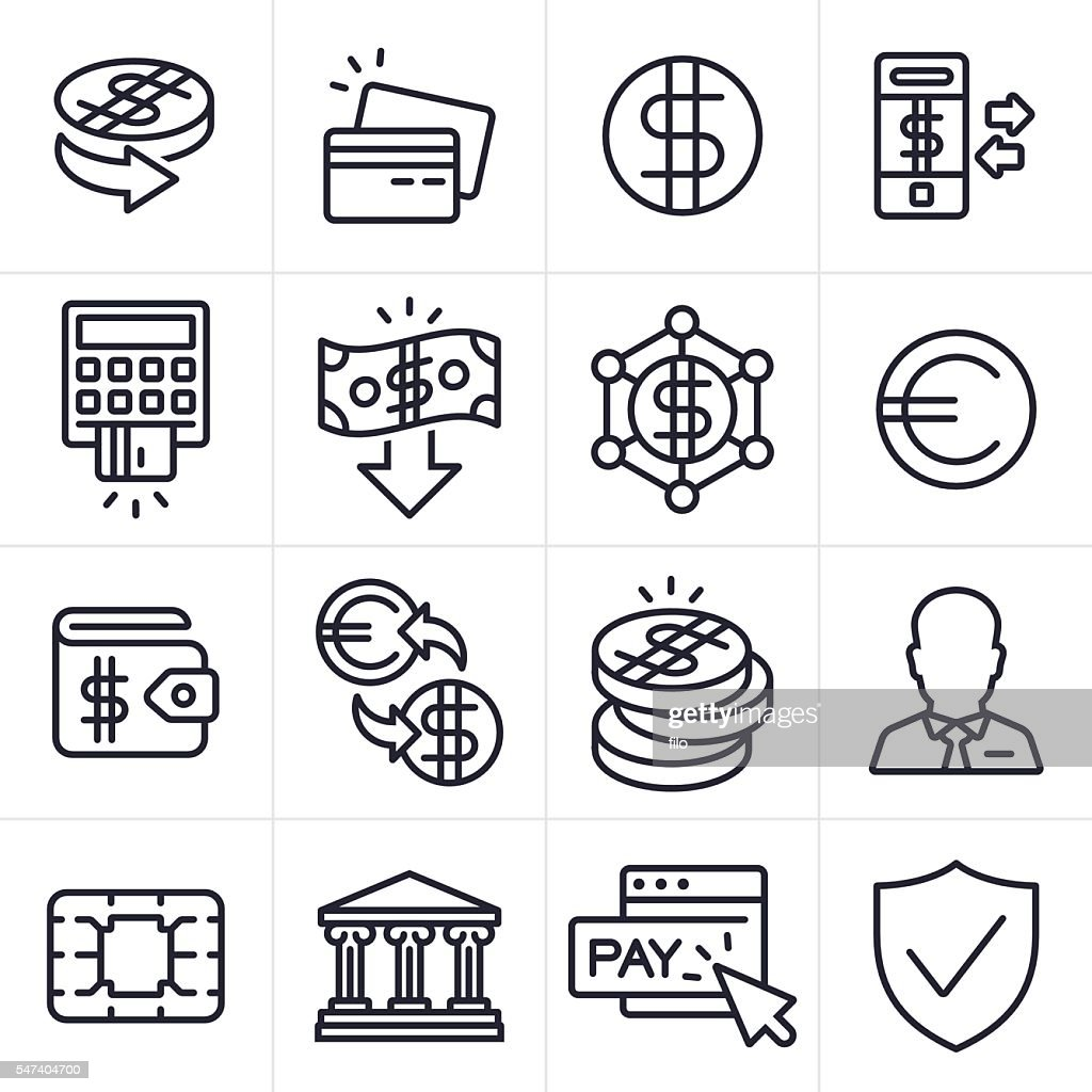 Currency Finance and Banking Icons and Symbols : stock illustration
