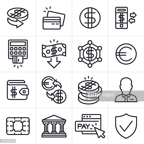 ilustraciones, imágenes clip art, dibujos animados e iconos de stock de currency finance and banking icons and symbols - card reader