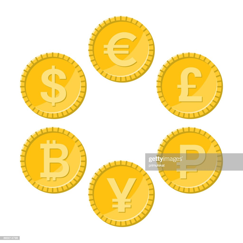 Currency flat icon set, golden vector coins