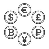 Currency flat icon set, line style vector coins