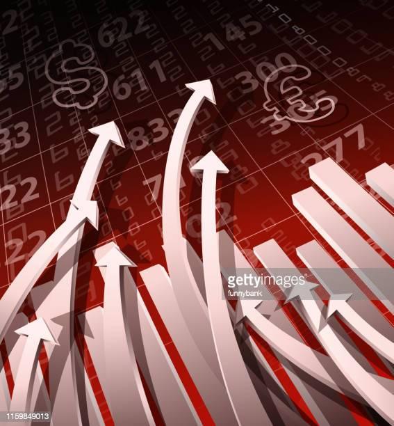 ilustrações, clipart, desenhos animados e ícones de gráfico de crescimento da moeda - reforma assunto