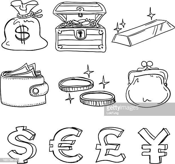 currency icon in black and white - gold purse stock illustrations