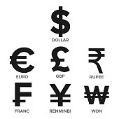 Currency Icon Set Vector. Money. Famous World Currency. Finance Illustration. Dollar, Euro, GBP, Rupee, Franc, Renminbi Yuan, Won. Isolated