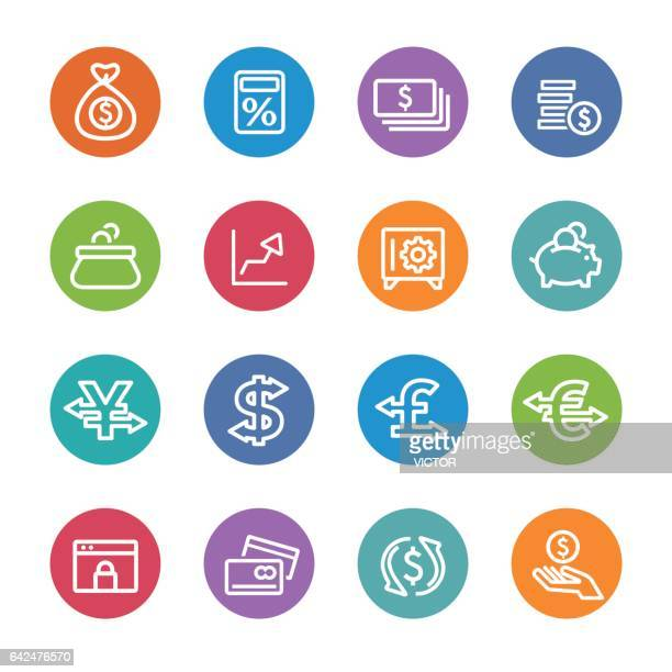 währung symbole - circle line serie - zinssatz stock-grafiken, -clipart, -cartoons und -symbole