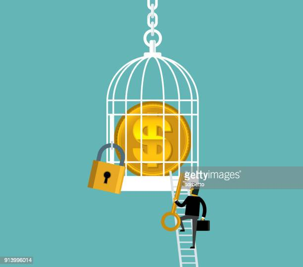 currency in birdcage - businessman - unlocking stock illustrations