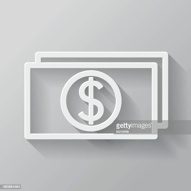 currency paper thin line interface icon with long shadow - american one dollar bill stock illustrations, clip art, cartoons, & icons