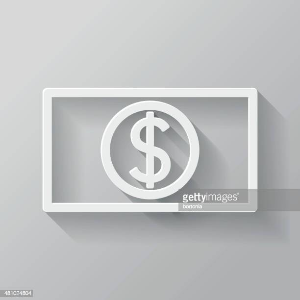 Currency Paper Thin Line Interface Icon With Long Shadow
