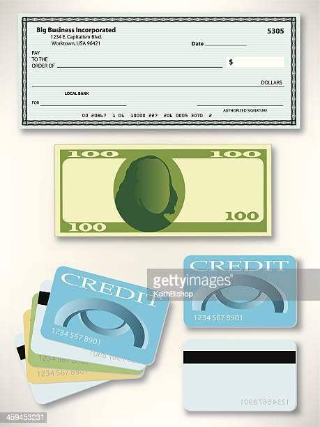 us currency - pay check, dollar bill, credit card - paycheck stock illustrations, clip art, cartoons, & icons