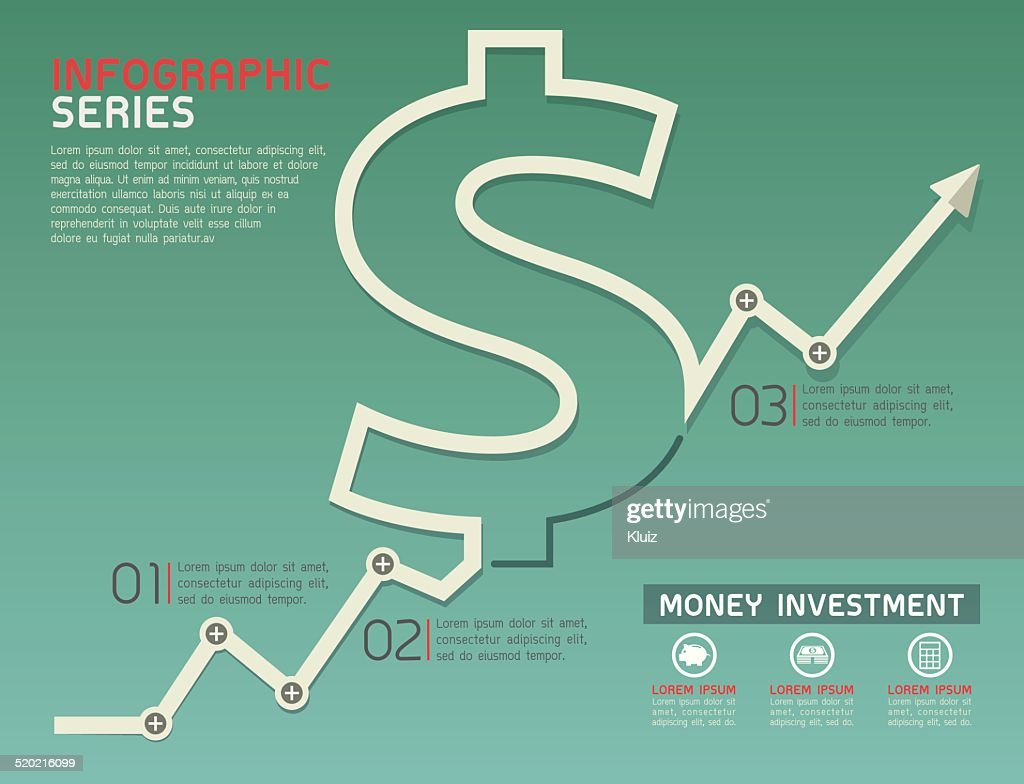 Currency Rising Line Diagram Template Vector
