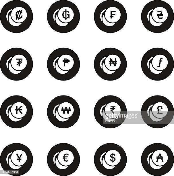 Currency Symbol Icons Set 1 - Black Circle Series