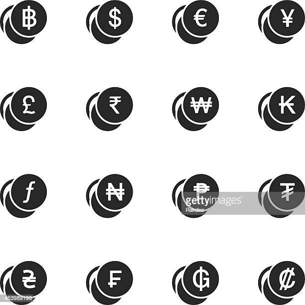 Currency Symbol Silhouette Icons   Set 1
