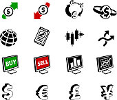 FX ( Foreign Exchange )currency trading black and white set