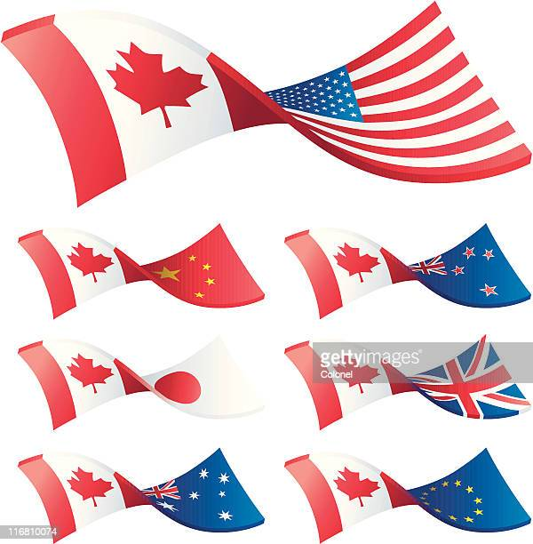 currency trading pairs - canada - canadian flag stock illustrations