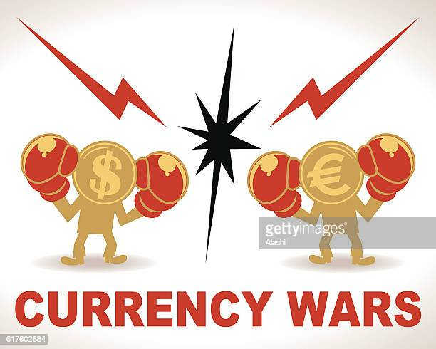 illustrations, cliparts, dessins animés et icônes de currency wars, battle, dollar and euro fighting with boxing gloves - conflit