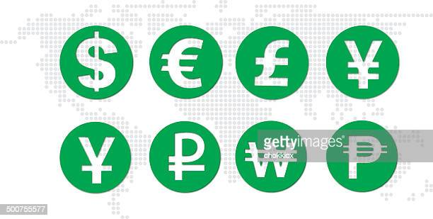 currency with world map