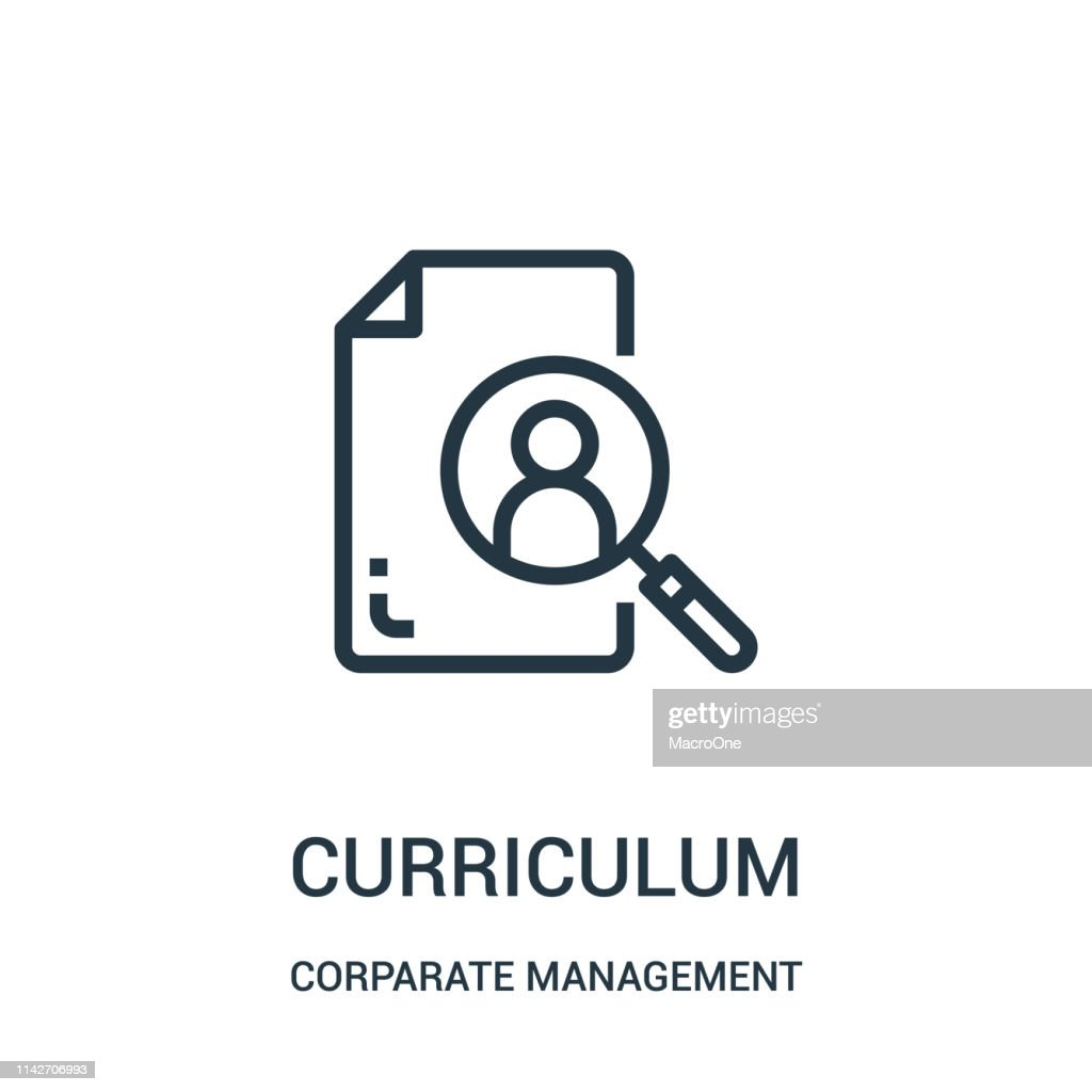 curriculum icon vector from corparate management collection. Thin line curriculum outline icon vector illustration. Linear symbol for use on web and mobile apps, logo, print media.