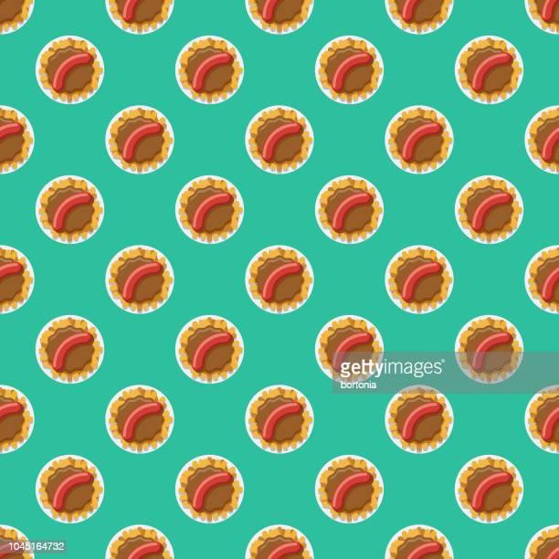 currywurst deutschland nahtlose muster - bratwurst stock-grafiken, -clipart, -cartoons und -symbole