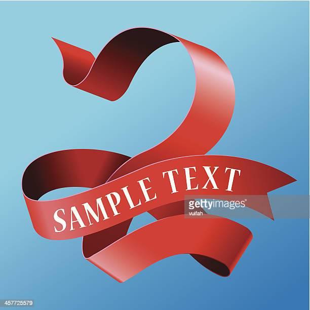 cursive ribbon number 02 - number 2 stock illustrations