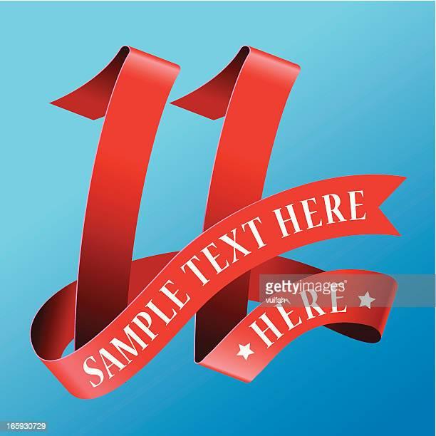 cursive リボン番号 11 - 数字の11点のイラスト素材/クリップアート素材/マンガ素材/アイコン素材