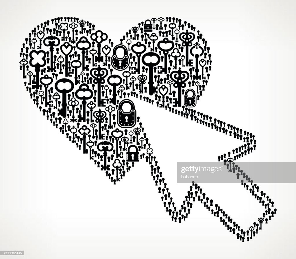 Cursor and Heart Antique Keys Black and White Vector Pattern : stock illustration