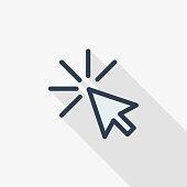 cursor arrow, click thin line flat color icon. Linear vector symbol. Colorful long shadow design.