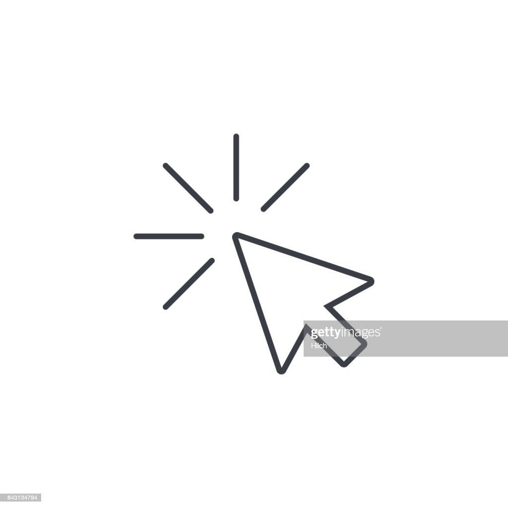 cursor arrow, click thin line icon. Linear vector symbol