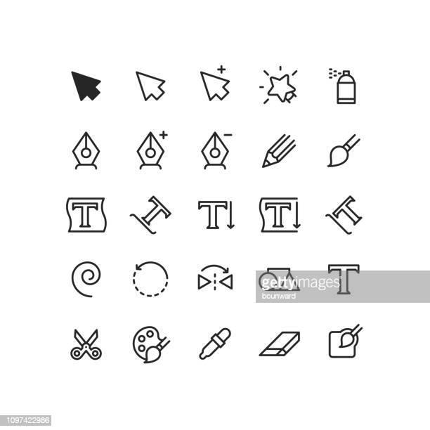 cursor-grafik werkzeuge gliederung symbole - malen stock-grafiken, -clipart, -cartoons und -symbole