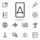cursor on the navigator icon. Navigation icons universal set for web and mobile