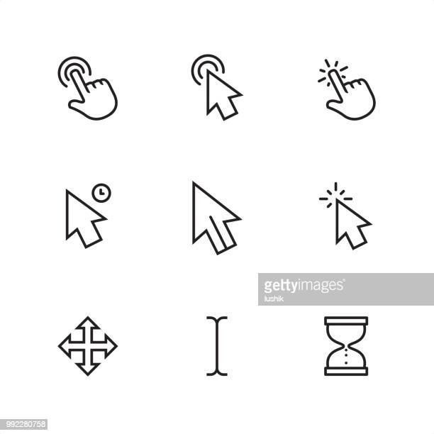 cursor - pixel perfect outline icons - hand stock illustrations
