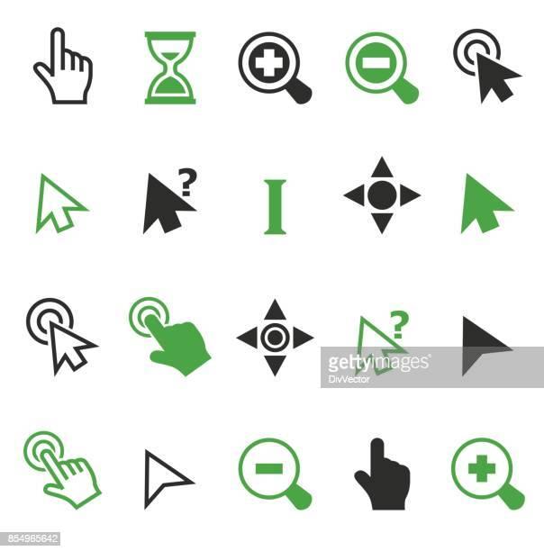 ilustrações, clipart, desenhos animados e ícones de ícones de ponteiro do cursor - ponteiro do mouse