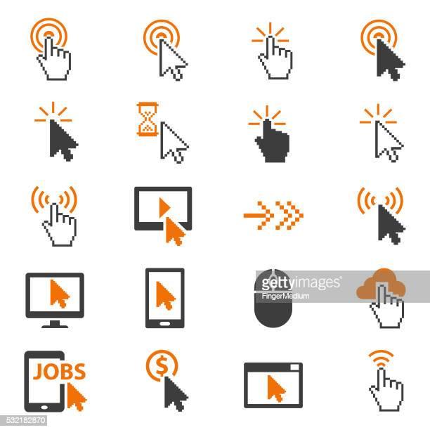 ilustrações, clipart, desenhos animados e ícones de cursores conjunto de ícones - ponteiro do mouse