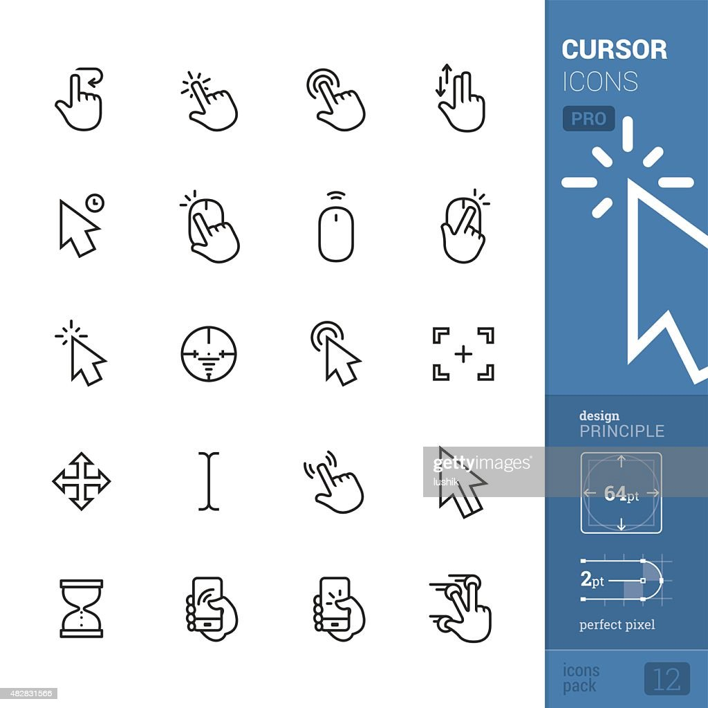 Cursors related vector icons - PRO pack : stock illustration