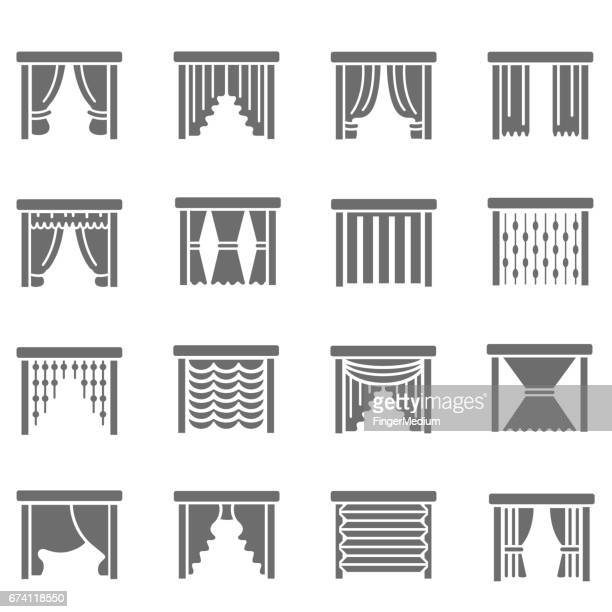 curtain icons - blinds stock illustrations, clip art, cartoons, & icons