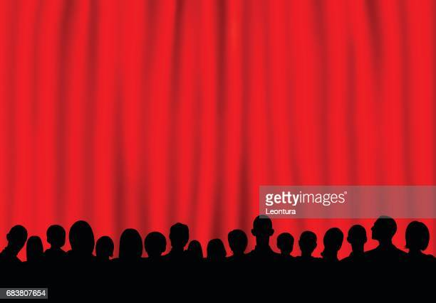 curtain (people are complete- a clipping path hides the legs) - theater industry stock illustrations, clip art, cartoons, & icons