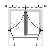 Curtains in thin linear style.
