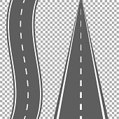Curved and straight road with white markings