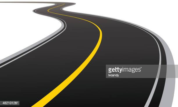 curved asphalt road - dividing line road marking stock illustrations
