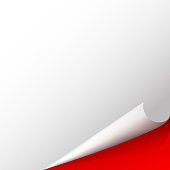 Curved corner on white sheet of paper Red background Vector